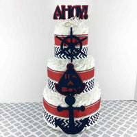 Navy & Red Ahoy, It's a Boy Nautical Diaper Cake