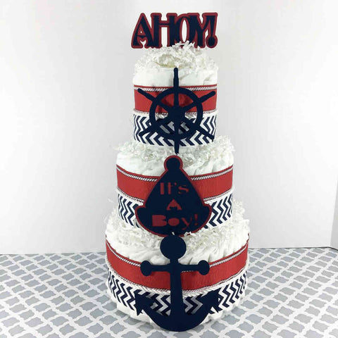 Ahoy, It's A Boy Themed 3 Layer Nautical Diaper Cake Centerpiece