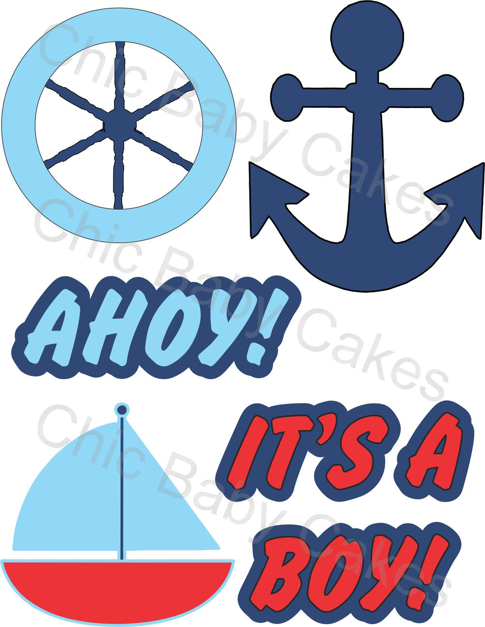 Ahoy, It's a Boy Nautical Diaper Cake Clipart, Red & Blue