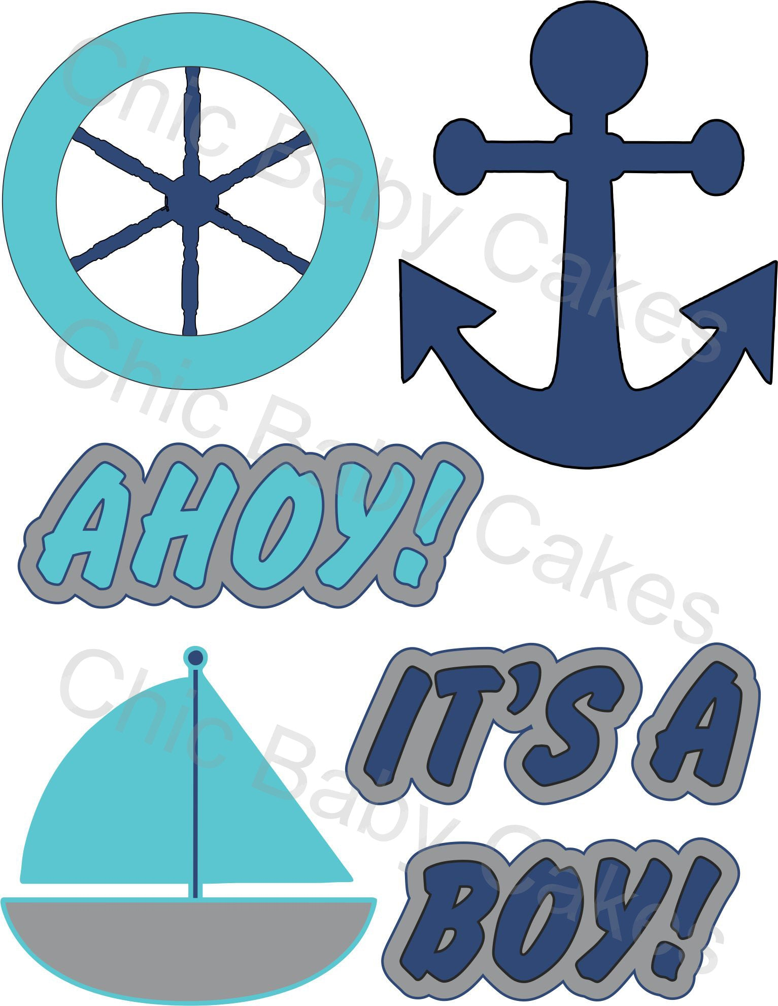 Nautical Diaper Cake Topper Decoration, Aqua and Navy