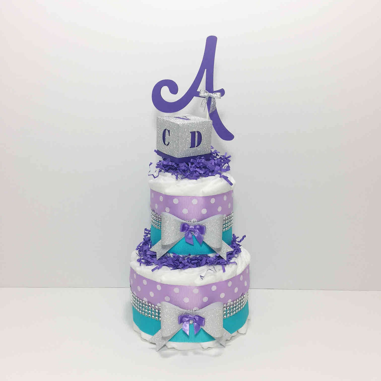 Lavender and Aqua Diaper Cake Centerpiece