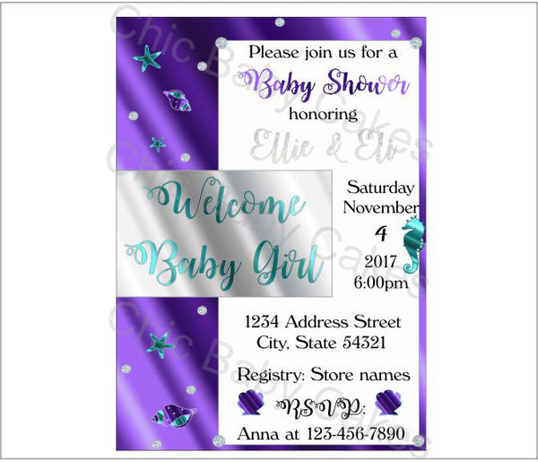 Purple & Silver Mermaid Baby Shower Invite