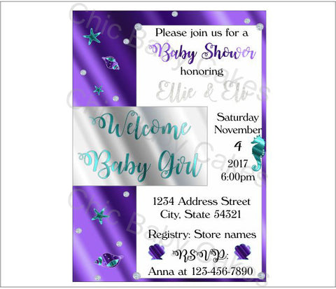 Digital Under the Sea Themed Baby Shower Invitation