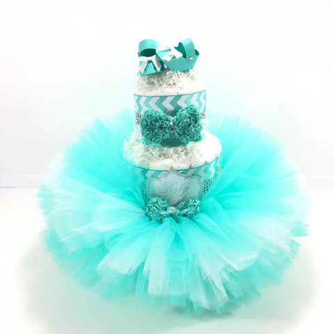 Aqua and White Tutu and Cute Shoes Diaper Cake Centerpiece
