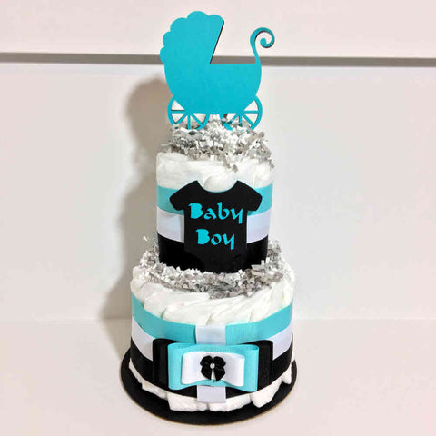 Baby Boy Diaper Cake Centerpiece - Aqua, Black, White