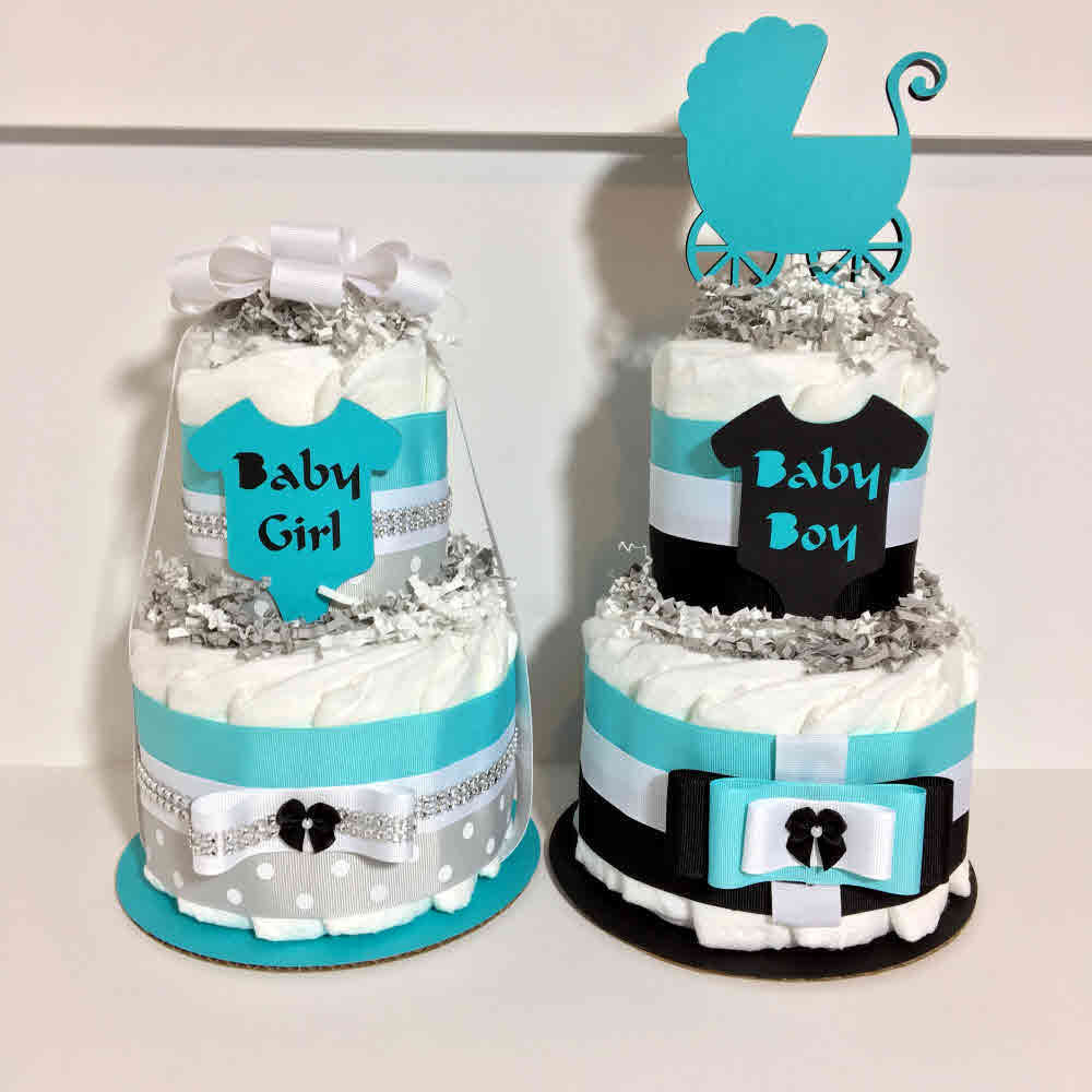 Teal, Silver, & Black Boy & Girl Diaper Cake Centerpieces
