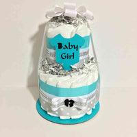 Teal and Silver Baby Girl Diaper Cake