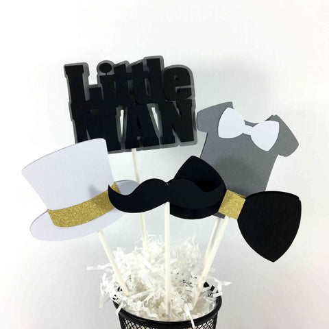 Little Man Centerpiece Sticks - Black, White, Gray, & Gold