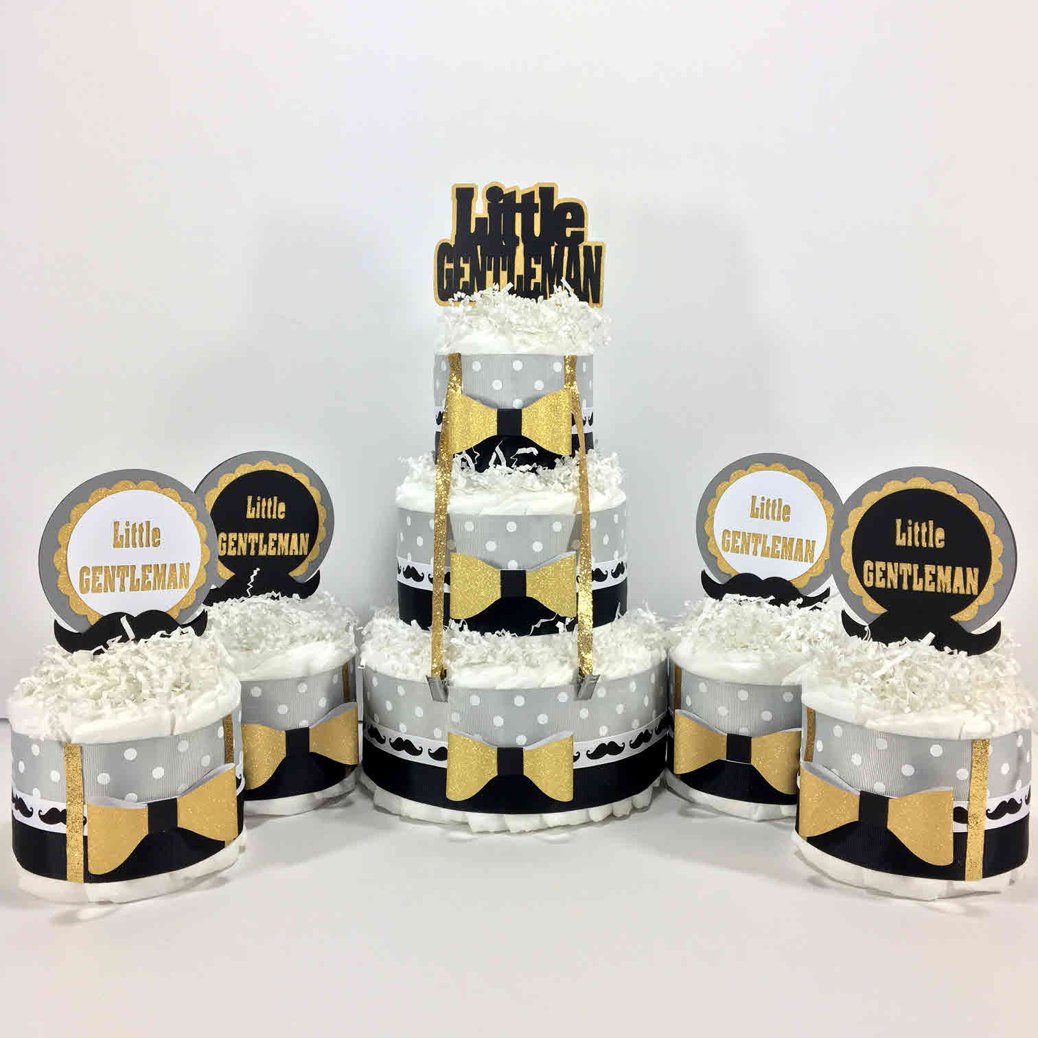 Black and Gold Little Gentleman Diaper Cake Centerpiece Set