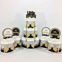 Black & Gold Little Gentleman Diaper Cake Centerpiece Set