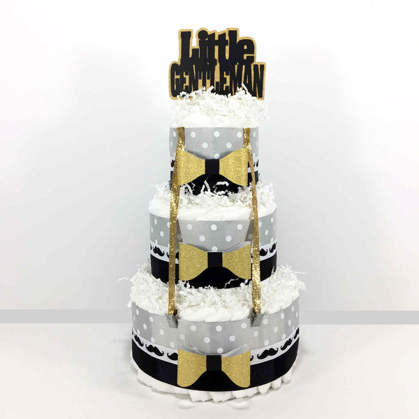 Black, Gold, & Gray Little Gentleman Diaper Cake Centerpiece