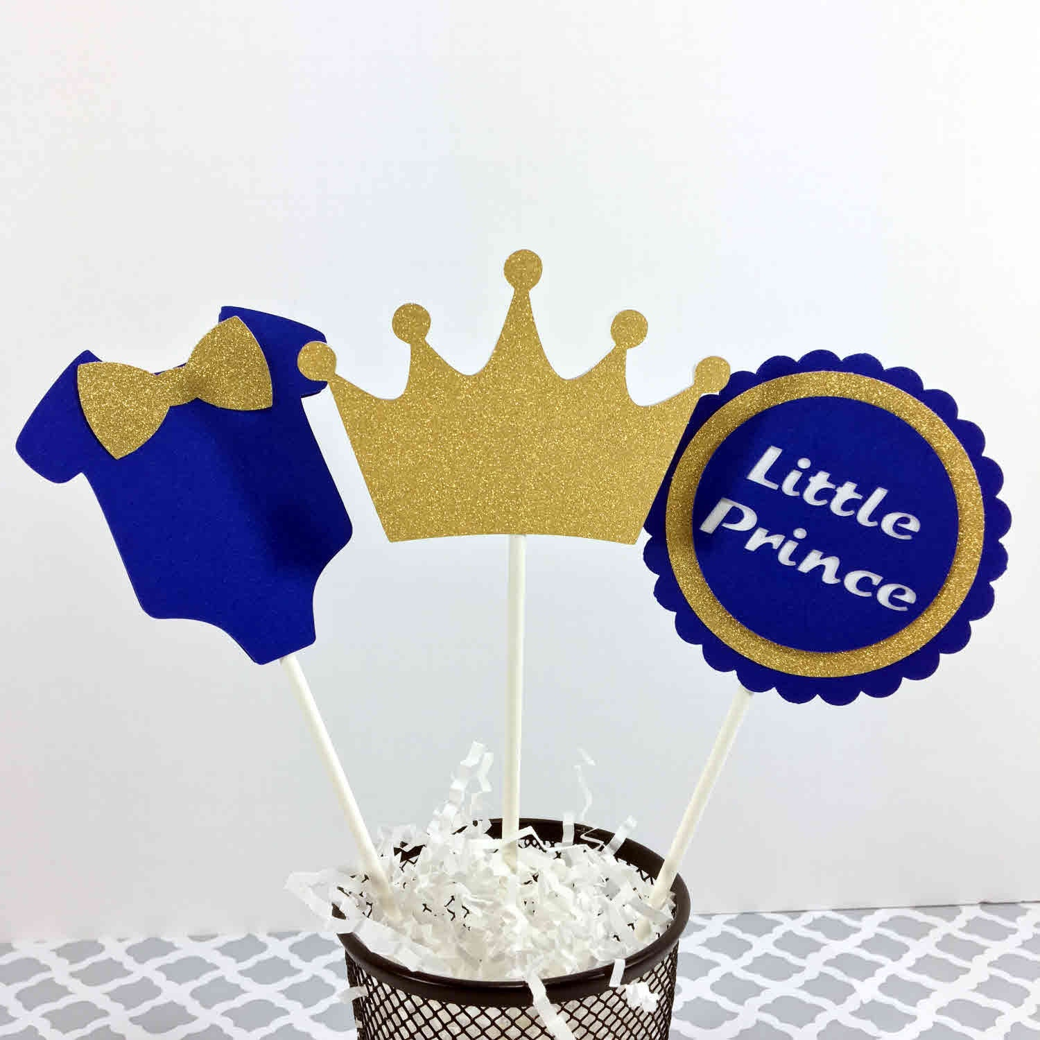 Blue & Gold Little Prince Cake Toppers