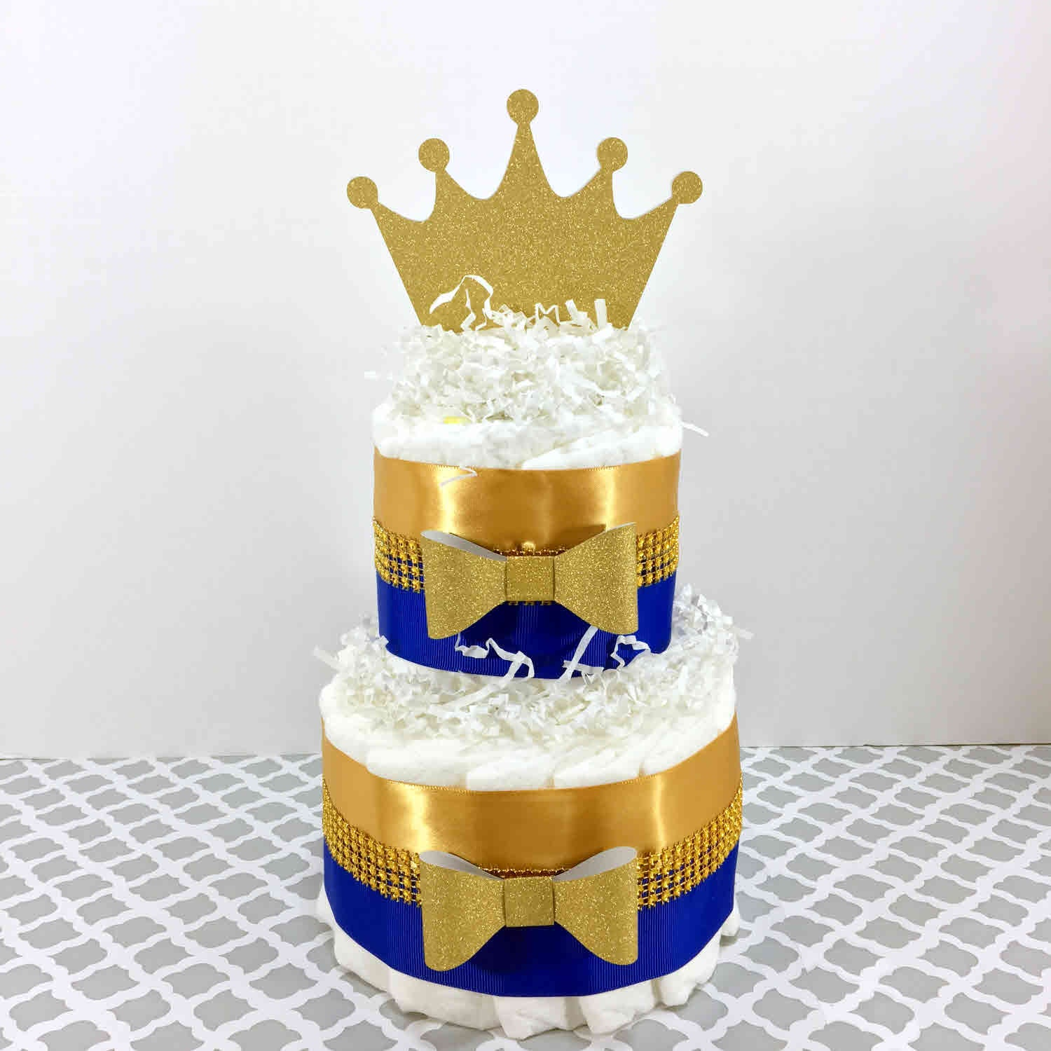 Little Prince 2-Tier Diaper Cake - Blue, Gold