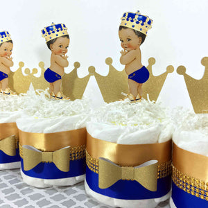 Prince Mini Diaper Cake Set - Blue, Gold