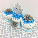 Blue & Gray Baby Elephant Diaper Cake Centerpiece