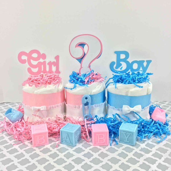 Girl or Boy Gender Reveal Diaper Cake Centerpiece Set