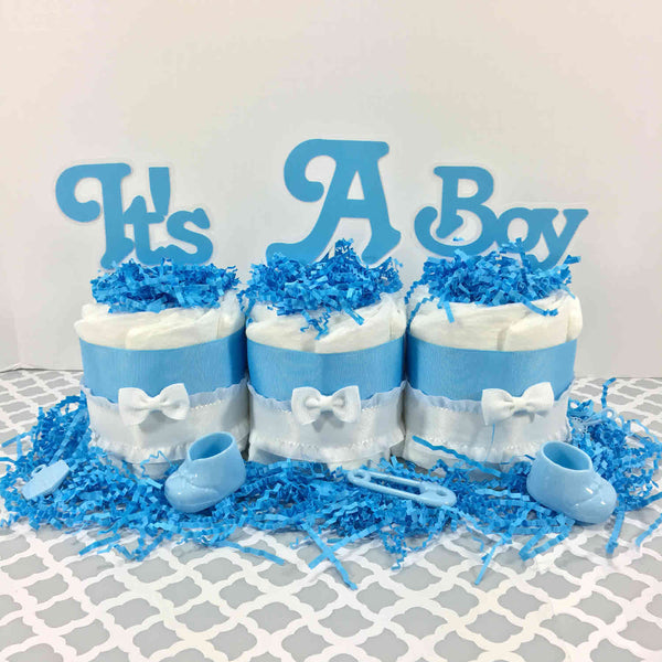 Blue & White It's a Boy Diaper Cake Centerpiece
