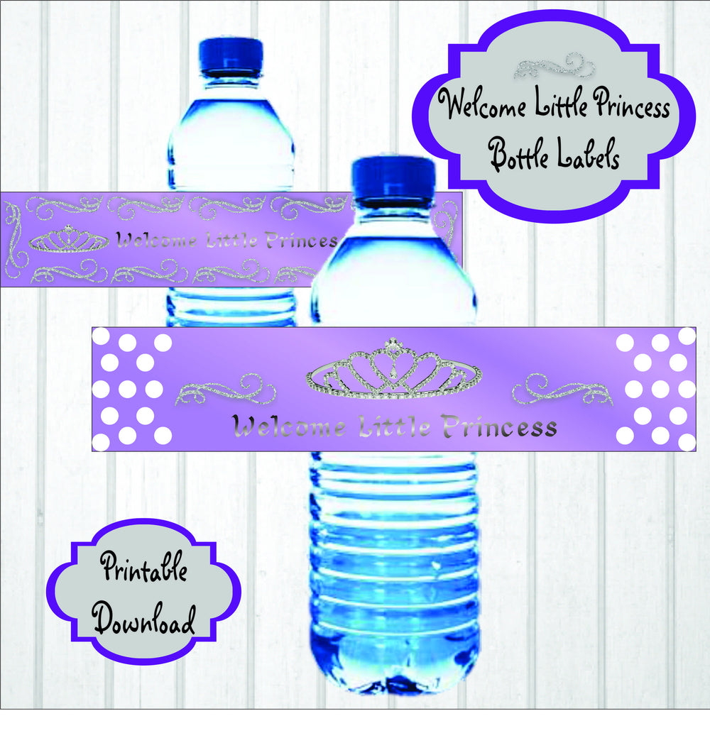 Lavender & Silver Princess Water Bottle Labesl