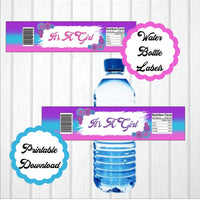 Pink, Blue, & Purple Girl Baby Shower Water Bottle Labels