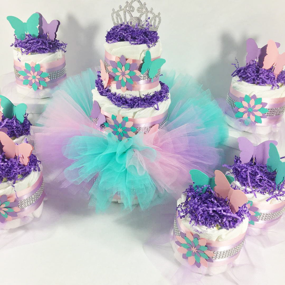 Princess Butterfly and Flowers Aqua, Purple, & Pink Tutu Diaper Cake Centerpieces