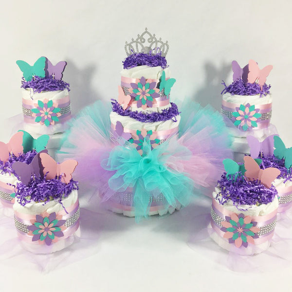 Lavender, Pink, and Teal Butterfly Tutu Diaper Cake Set