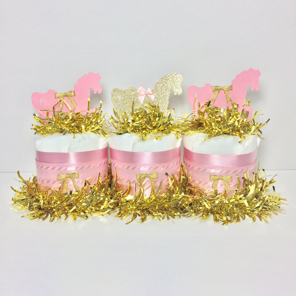 Pink & Gold Horse Mini Diaper Cake Centerpiece Set