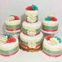 Coral, Teal, Cream, & Gold Diaper Cake Centerpieces