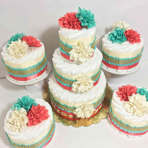 Coral, Aqua, and Cream Chic Diaper Cake Set