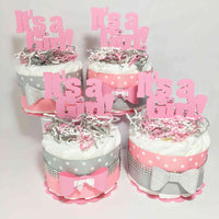 Pink & Gray It's A Girl Diaper Cake Centerpiece Set