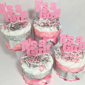 Pink & Silver It's A Girl Diaper Cake Centerpieces