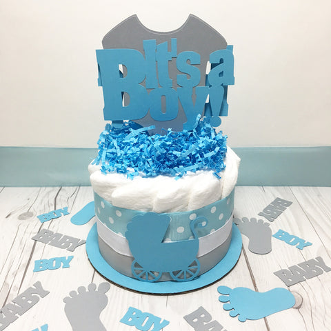 It's A Boy 1-Tier Diaper Cake Centerpiece Set