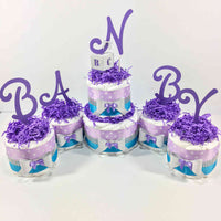 Purple, Blue, & Silver Girl Diaper Cake Centerpiece Set