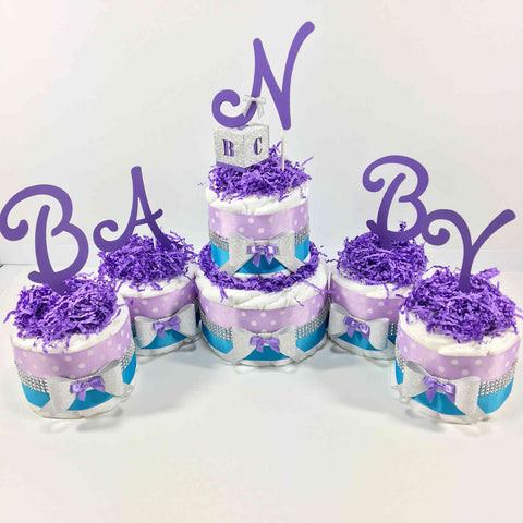 Lavender and Turquoise Girl Diaper Cake Centerpiece Set