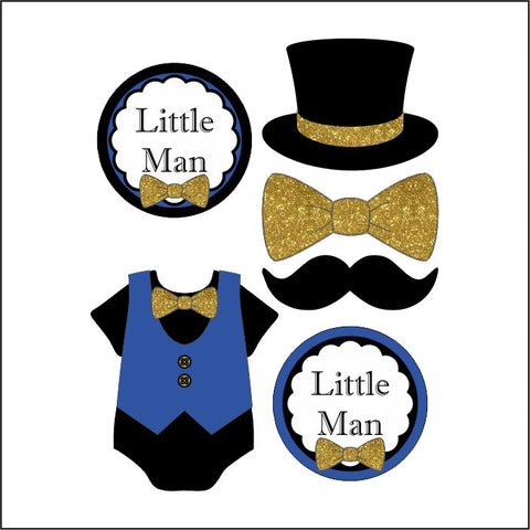 Little Man Diaper Cake Topper Decoration, Royal Blue and Gold