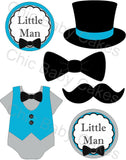 Little Man Printable Diaper Cake Topper Decoration, Turquoise and Gray