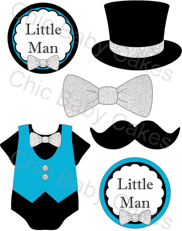 Little Man Diaper Cake Topper Decoration, Turquoise and Silver