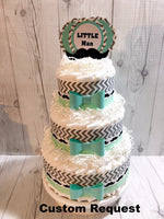 Aqua and gray little man diaper cake centerpiece