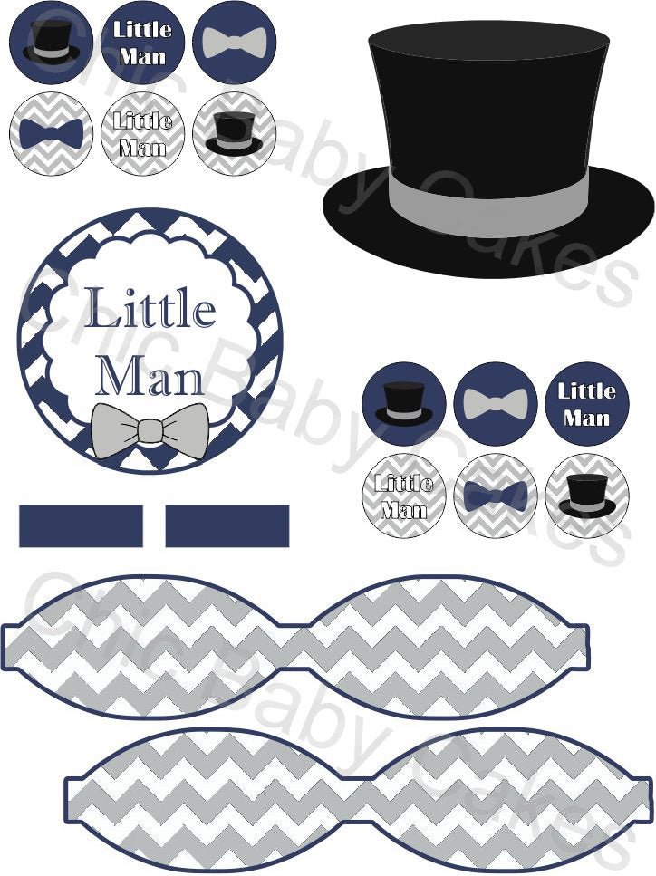 Little Man Diaper Cake Decorations, Navy and Gray