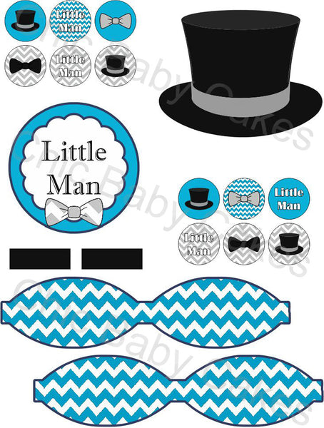 Blue, Black, & Gray Little Man Diaper Cake Clipart