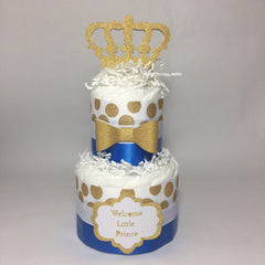 Welcome Little Prince Royal Blue & Gold Diaper Cake