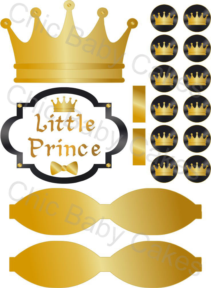 Little Prince Diaper Cake Decorations, Black and Gold