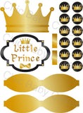 Little Prince Printable Diaper Cake Decorations, Black and Gold