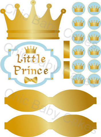 Little Prince Printable Diaper Cake Decorations, Light Blue and Gold