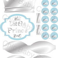 Little Prince Diaper Cake Decorations, Light Blue and Silver
