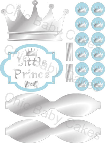 Little Prince Printable Diaper Cake Decorations, Light Blue and Silver