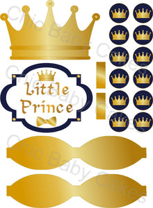 Little Prince Diaper Cake Decorations, Navy and Gold