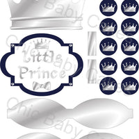 Little Prince Diaper Cake Decorations, Navy and Silver