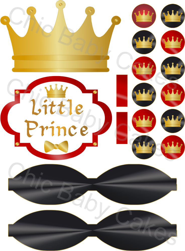 Little Prince Diaper Cake Decorations, Red, Black, and Gold