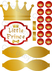 Little Prince Printable Diaper Cake Decorations, Red and Gold
