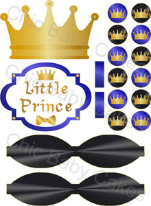 Little Prince Diaper Cake Decorations, Royal Blue, Black, and Gold